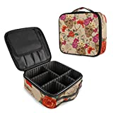 ALAZA Dia De Los Muertos Skull Flower Blossom Makeup Cosmetic Case Organizer Portable Storage Bag Travel Makeup Train Case with Adjustable Dividers
