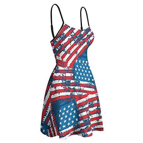 kikomia Vestido de columpio para mujer con tirantes finos, ajustable, diseño abstracto de la bandera estadounidense con tirantes blanco S