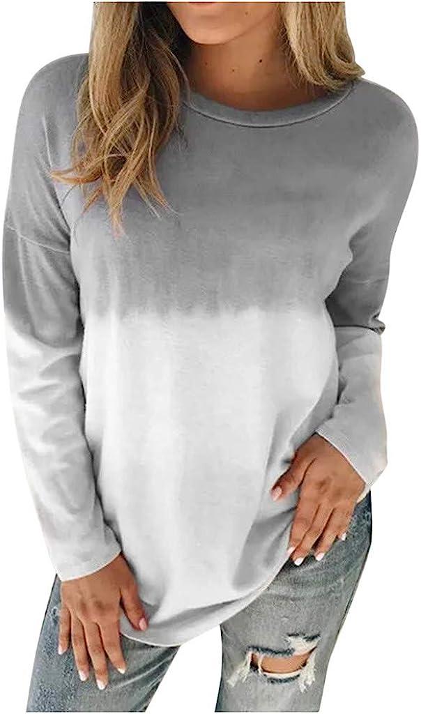 INNOVIERA Long Sleeve Blouses for Women Casual,Women Tie Dye Printed Crewneck Colorblock Tops Loose Pullower Sweatshirt Tops