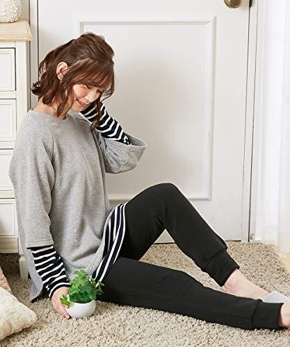 [nissen(ニッセン)] ルームウェア・パジャマ 大きいサイズ マタニティウェア・授乳服 【産前・産後 授乳服】あったか裏起毛 マタニティ重ね着風ルームウエア上下セット 杢グレー系 マタニティL