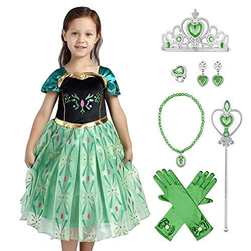 IWEMEK Disfraz de Princesa Anna Vestido con Accesorios Frozen Niñas Reina de Hielo Cosplay Carnaval Traje Halloween Navidad Ceremonia Cumpleaños Fiesta Theme Fancy Dress Costume Verde Set 9- 10 Años