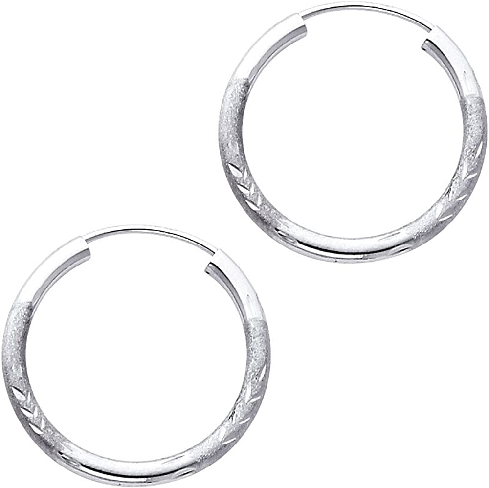14k White Gold 2mm Thickness Endless Hoop Earrings - 8 Different Size Available