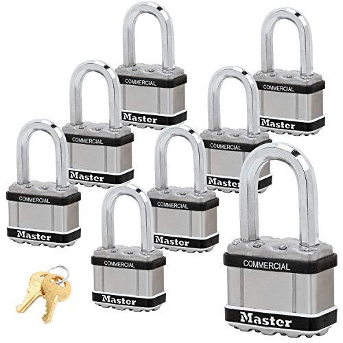 """Master Lock Magnum Padlocks - 2"""" W x 1-1/2""""L Shackle, Eight (8) Keyed Alike Locks #M5NKALFSTS-8 w/BumpStop Technology"""