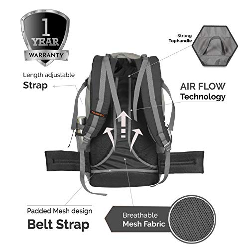 TRAWOC 55 LTR Travel Backpack for Outdoor Sport Camping Hiking Trekking Bag Rucksack (Black)