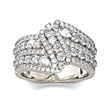 Jeulia Intertwined Crossover Rings for Women Crossover Wedding Band Sterling Silver Statement Rings Round Cut Engagement Ring Anniversary Promise Birthday Festival Gift with Jewelry Gift Box (5.5)