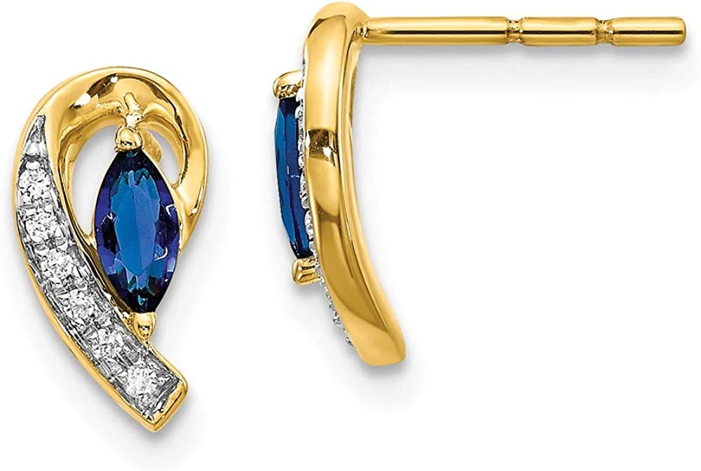 Solid 14k Yellow Gold Diamond and Sapphire Blue September Gemstone Button Post Studs Marquise Earrings - 11mm x 5mm (.048 cttw.)
