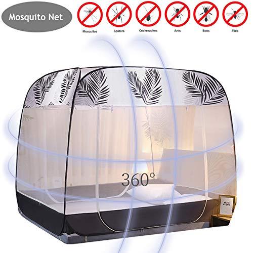 YANGM Automatik Moskitozelt Mosquitonetz Mobiler Insektenschutz Mit 180X 200 cm Vollständig Geschlossen Schlafzimmer Haushalt 100% Polyester,Natural