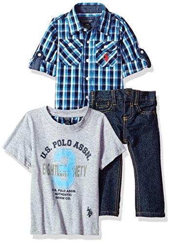 U.S. Polo Assn. Baby Boys' Sport Shirt, Creeper and Pant Set, 0689-Multi Plaid, 24M