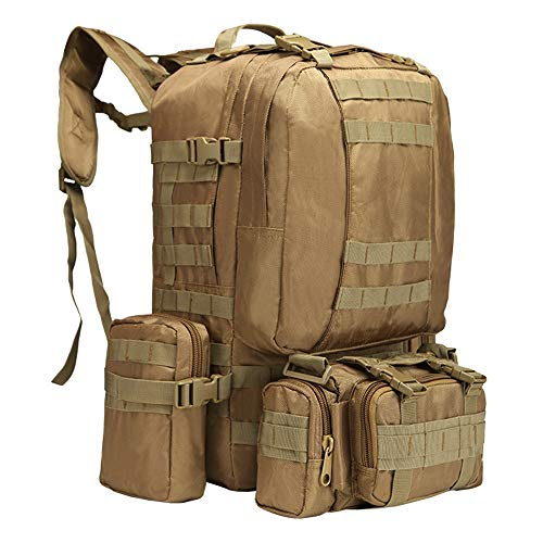 Tactical Backpack 55L with Built-up 3 MOLLE Bags Rucksacks for Travelling (Tan2)