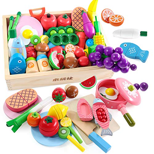Wooden Toy Company Pretend Play Toy, Natural Wood, Meat, Fish, Fruit & Dinnerware Set, Building Blocks, Cutting Play, Wooden Toy, Dish Box, Gift
