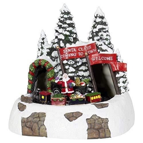 Fair Shop Scenario Natalizio Villaggio Babbo Natale con Treno Luci Suoni e Movimento
