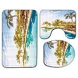 3Pcs Alfombra de baño antideslizante Juego de tapa de asiento de inodoro Juego de alfombrilla de baño suave antideslizante Vista aérea de una piscina en un balneario Hotel de spa con elementos exótico