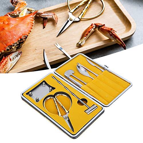 8 piezas de cuchillos para mariscos, juego de tenedores para galletas de cangrejo de acero inoxidable, tijeras para...