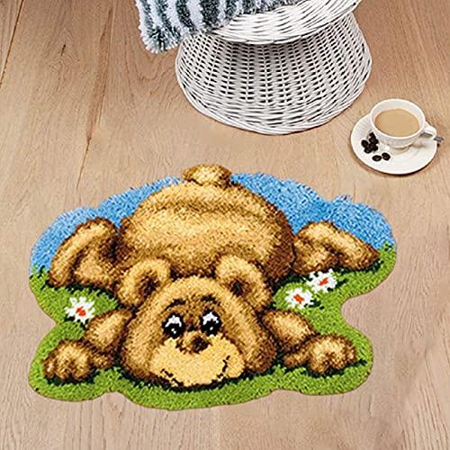 ZYUN Kit de punto de cruz para alfombra con ganchillo, kit de ganchillo para principiantes, kits de fabricación de alfombras con lona de color, suministros de bordado para manualidades, regalo