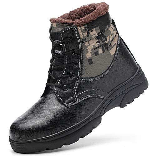 Zapatos Con Punta de Acero Para Hombre,Botas Seguridad en el Trabajo Para Mantener El Calor en Invierno,Botas de Protección Para Exteriores Ligeras Y Transpirables,Calzado de Construcción Industrial
