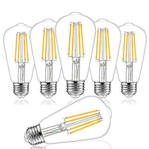 Dimmable Vintage LED Edison Bulbs, 100W Equivalent, 8W, 1200Lumens, High Brightness Soft Warm White 3000K, ST64 Antique LED Filament Bulbs, Standard E26 Medium Base, Clear Glass, High CRI 90+, 6 Packs