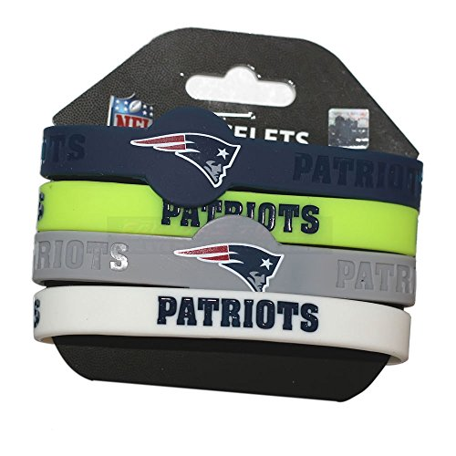 Aminco NFL New England Patriots Silicone Bracelets, 4-Pack