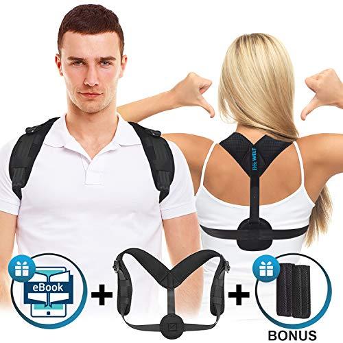 Rücken Geradehalter inkl. eBook für eine gesunde Körperhaltung - Verstellbare Haltungskorrektur - Perfekter Rückenrichter und Rückenstütze gegen Nacken- und Rückenschmerzen für Damen und Herren