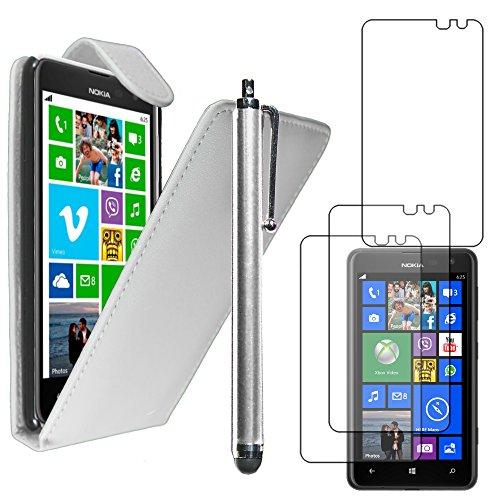 ebestStar - Coque Compatible avec Nokia Lumia 625 Etui Housse PU Cuir Rabat Flip + Stylet + 3 Films d'écran, Blanc [Appareil: 133.3 x 72.3 x 9.2mm, 4.7'']