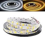 CHOUREN Luces decorativas 5 m 5054 300 LEDs DC 12 V cinta flexible tira de luz no impermeable para uso en interiores (color: blanco)