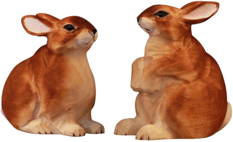 Luxdeoo Esculturas Accesorios Decorativos Esculturas Artesanías De Madera Combinación De Conejitos Animales Accesorios para El Hogar Tallados A Mano Regalo Adornos