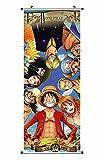CosplayStudio Großes One Piece Rollbild/Kakemono aus Stoff | Poster 100x40cm | Motiv: Die Strohhut-Bande