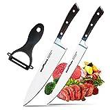 Godmorn X50CrMov15 - Juego de Cuchillos de Chef (3 Piezas, Cuchilla Alemana de Acero Inoxidable + Mango de Madera de Pokka, Cuchillo de Chef de 20,3 cm + Cuchillo de Utilidad de 20,3 cm