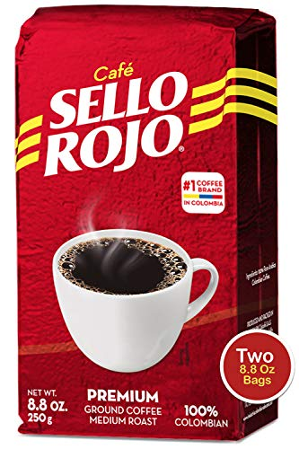 Sello Rojo Columbian Coffee | Best Coffee Selling Brand in Colombia | 8.8 Oz Supremo Ground Coffee Bricks | Medium Roast | Cafe De Colombia (8.8 Oz Pack of 2)
