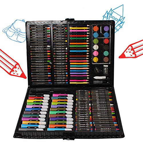 168 Piece Art Set,Painting & Drawing Supplies Kit with Portable Art Box,Oil Pastels, Crayons, Colored Pencils, Markers, Watercolor Cakes Inspiration & Creativity Coloring Art Set