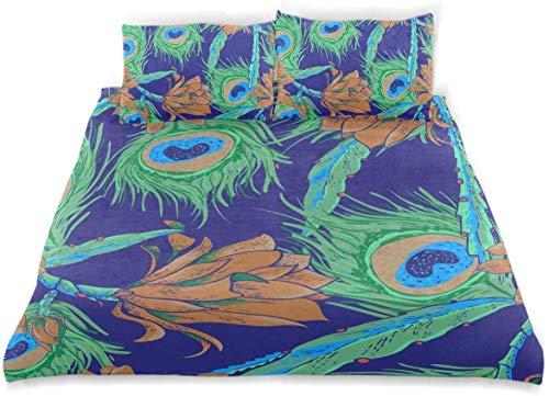 Zozun Juego de Funda nórdica Hermoso patrón Tropical sin Costuras Vintage Ocre Decorativo Juego de Cama de 3 Piezas con 2 Fundas de Almohada