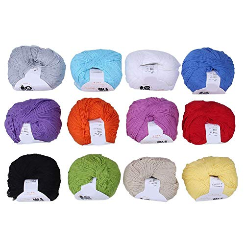 Hilo acrílico, 12 Colores Suave y cálido Hilo para bebés Tejido de Punto Crochet Hilo de algodón Línea de acrílico Hilo Tejido de Lana Cachemira Hilo Hilo de Tejer Hilo de Lana Hilo de Ganchillo Hilo