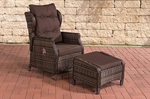 CLP Polyrattan-Sessel Breno Mit Sitzpolster Und Fußhocker I Relaxsessel Mit Verstellbarer Rückenlehne, Farbe:braun-meliert, Polsterfarbe:Terrabraun