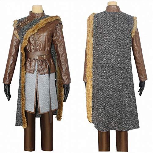 WSJDE Juego de Tronos Temporada 8 Arya Stark Cosplay Disfraz Elegante Capa Chaqueta de Cuero Mujer Halloween Fiesta Conjunto Completo XXL