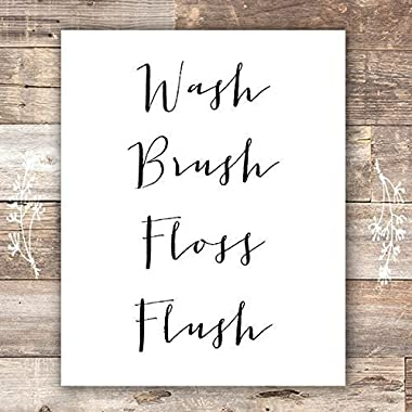 Bathroom Decor Wash Brush Floss Flush Art Print - Unframed - 8x10