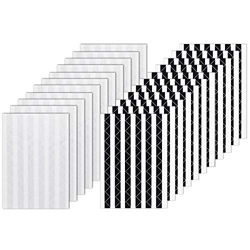 VIPbuy 2244 pegatinas de esquina para montaje de fotos, autoadhesivas, para álbumes de recortes, álbum de fotos, manualidades, 22 hojas (negro y transparente)