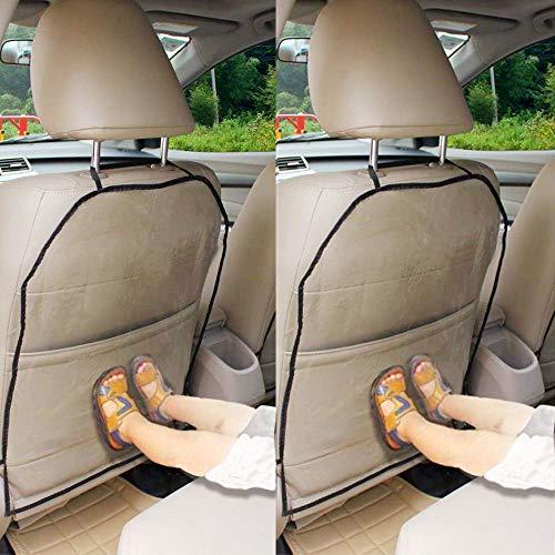 Anjien Autositzschoner Rückenlehne Kinder Rückenlehnenschutz Auto, Anti-Schmutzig Autositzschutz Rückseite, 2 Stück Transparent Wasserdichter Rückenschutz Autositz für Kinder