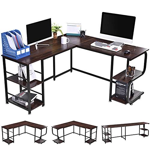 Escritorio de esquina en forma de L, 150 x 140 x 74 cm, mesa esquinera con compartimentos de almacenamiento, mesa grande para ordenador portátil, mesa de madera para juegos