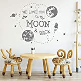 We Love You to Moon and Back Quote Tatuajes de Pared Murales del Espacio Exterior Pegatinas de Planeta Earth Rocket Planet Vinilo de Pared 58 * 42cm