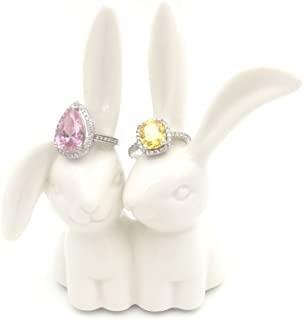 OYLZ Ceramic Rabbit Bunny Jewelry Ring Holder,Engagement Ring and Wedding Ring Holder Stand Display