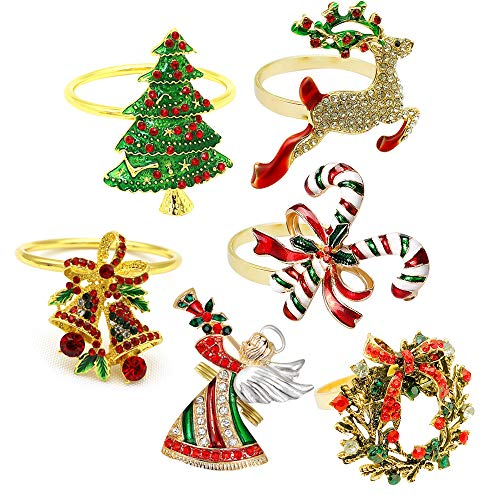 MJARTORIA Serviettenringe Gold Hirsch Stoffservietten Serviettenhalter für Weihnachten Hochzeiten Partys Abendessen Feiertage Esstischdekoration (Bunt 6er)