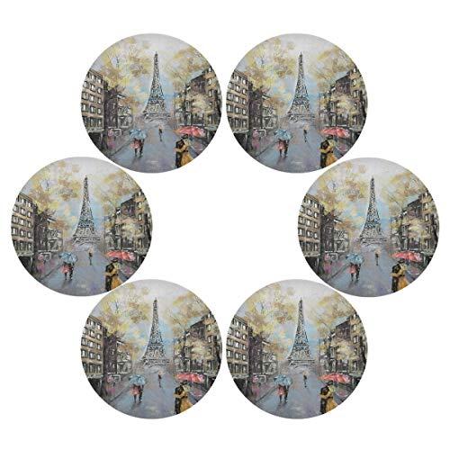 TropicalLife OOWOW Lot de 6 sets de table ronds avec peinture à l'huile Motif Eiffel Antidérapants Résistants à la chaleur Lavables Pour la cuisine, la salle à manger, la décoration de Noël