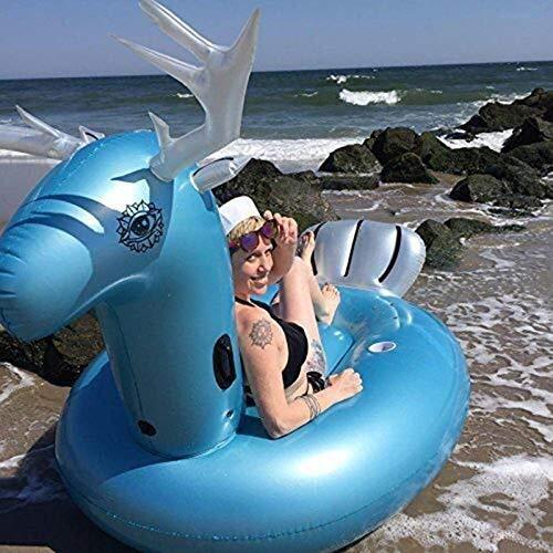 Swim Party Toys Schlauchboot Schwimmteich Jumbo-Tier Aufblasbares Schwimmbecken Drift Küste Foto Requisiten Schwimmende Reihe Erwachsene/Kinder Schwimmen Wasserspielzeug 275X140X120Cm, Golden_flow