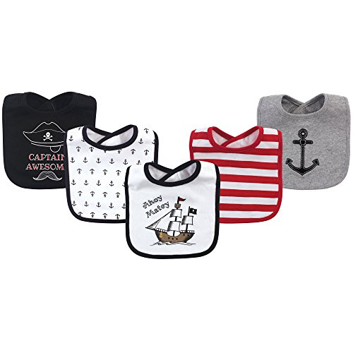 Hudson Baby Unisex Baby Cotton Bibs, Pirate Ship, One Size
