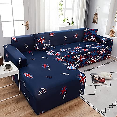 WXQY Funda elástica Ajustable para sofá Chaise Longue Funda de sofá Modular de Esquina en Forma de L, Funda de sofá Modular con Todo Incluido A17 2 plazas