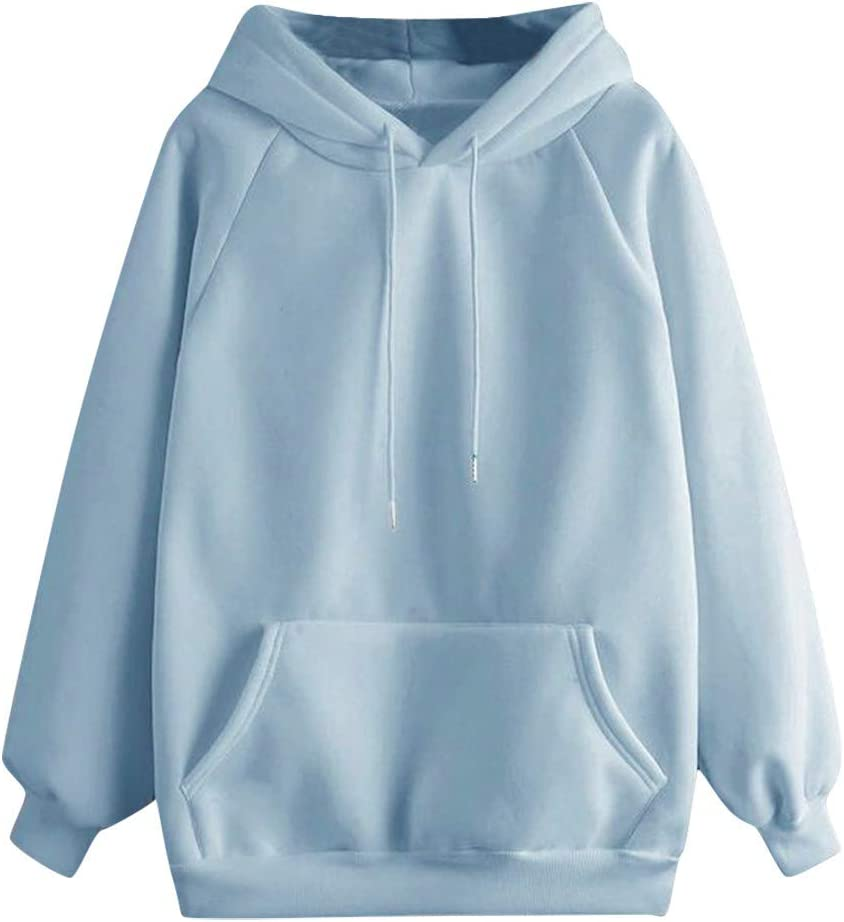 Hooded Sweatshirts for Women Plus Size Long Sleeve Solid Lightweight Pullover Tops Loose Drawstring Casual Loose Blouse with Large Pocket