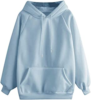Women Solid Hoodies Sweatshirt Outerwear ❀ Ladies Long Sleeve Casual Pocket Pullover Sport Coat