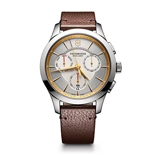 Victorinox Men's Alliance Stainless Steel Swiss-Quartz Watch with Leather Strap, Brown, 21 (Model:...