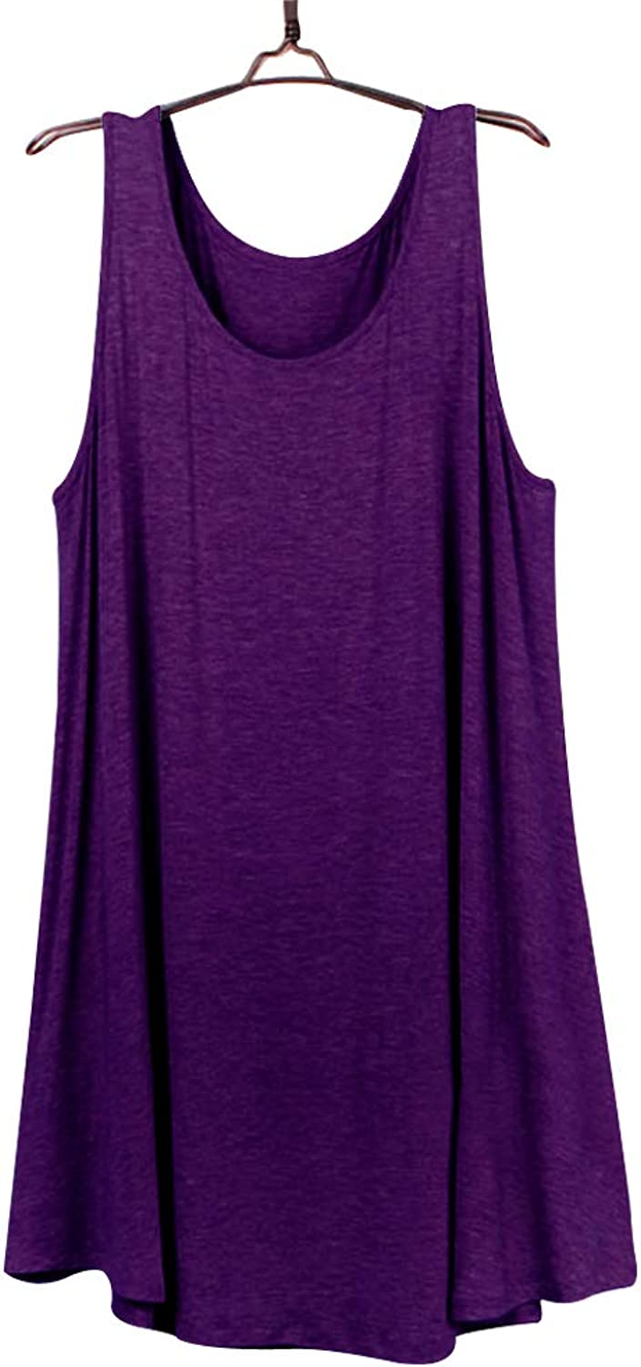 DD DEMOISELLE Women's Shift Sundress Pocket, Sexy Breathable Swim Beach Cover Tank Short Mini Dress Sleeping Flowy Simple Loose Swing Casual Dress for Summer Gift, Purple, Small