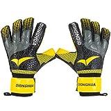 Guantes de portero profesionales con protección de dedos, de látex, para fútbol, de portero, para niños (color: amarillo, talla 9)