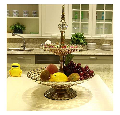 Frutero Creativo, Doble Cristal Frutero Canasta Europeo Moderno Clásico con Cuentas Decoración De Cristal Hogar Salón Dulces Plato Fruta, Canasta de Frutas secas
